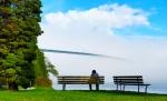 Enveloped in Fog, Lions Gate Bridge, Stanley Park, Vancouver, British Columbia, Canada