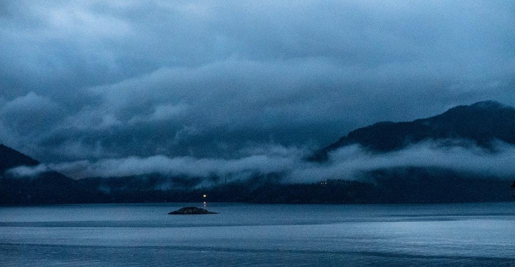 Howe Sound Twilight, Sea to Sky Highway, Near Lions Bay, British Columbia, Canada