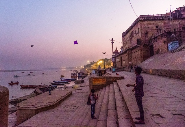 Kites in the Dusk II, On the Ganga (Ganges River), Kashi (Old Varanasi), Uttar Pradesh, India