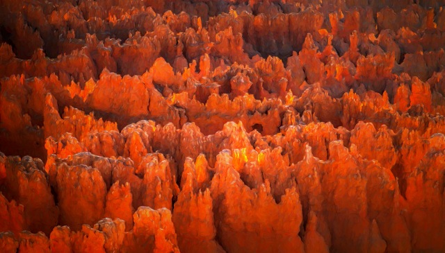 Bryce Canyon Fire, Hoodoos, Bryce Canyon National Park, Utah, United States of America