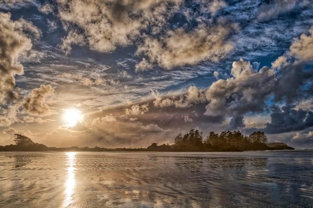 Frank Island Sunset, Chesterman Beach, Tofino, Vancouver Island, British Columbia, Canada