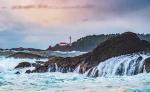 Lennard Island Lighthouse, From Frank Island, Chesterman Beach, Tofino, Vancouver Island, British Columbia, Canada
