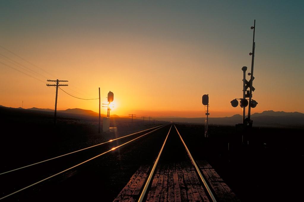 Railway Sunset, Route 66, Mojave Desert, California, United States of America