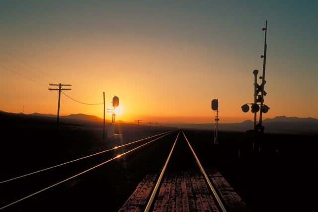 Railway Sunset, Route 66, Mojave Desert, California, United States of America