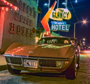 Built for Speed, Corvette Stingray, The Glancy Motor Hotel, Route 66, Clinton, Oklahoma, United States of America