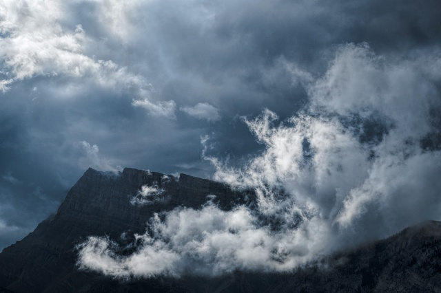 Cloud Over Rock, Banff National Park, From HI Banff Alpine Centre, Banff, Alberta, Canada