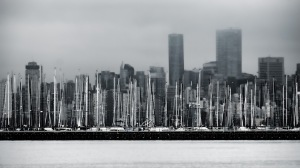 Masts and Glass Towers, From Jericho Beach, Vancouver, British Columbia, Canada