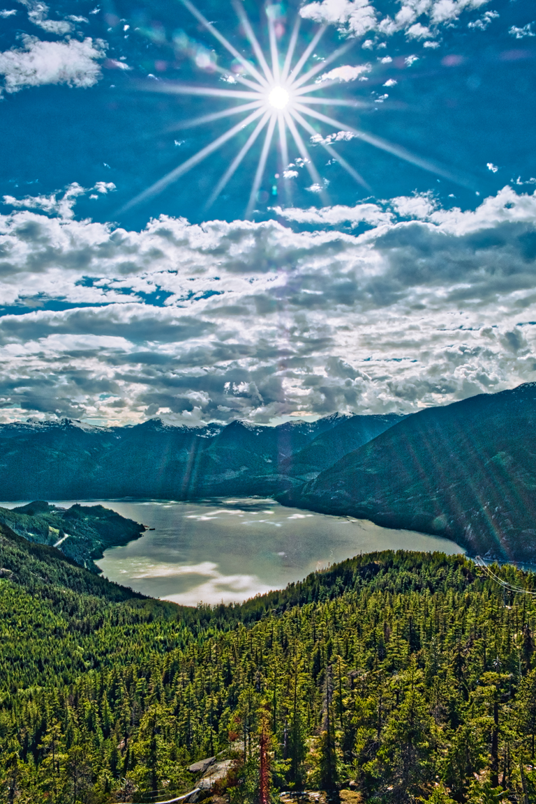 Sun Burst, Howe Sound, Sea to Sky Gondola, Squamish, British Columbia, Canada