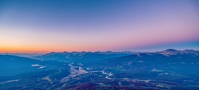 Sunset and Alpen Glow over Jasper, Amber, Violet and Indigo, Jasper Sky Tram, Jasper National Park, Alberta, Canada