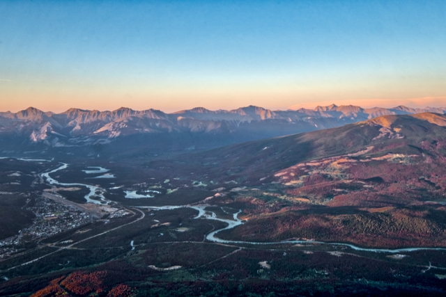 Sunset, Jasper, from the Jasper Skytram, Jasper National Park, Alberta, Canada