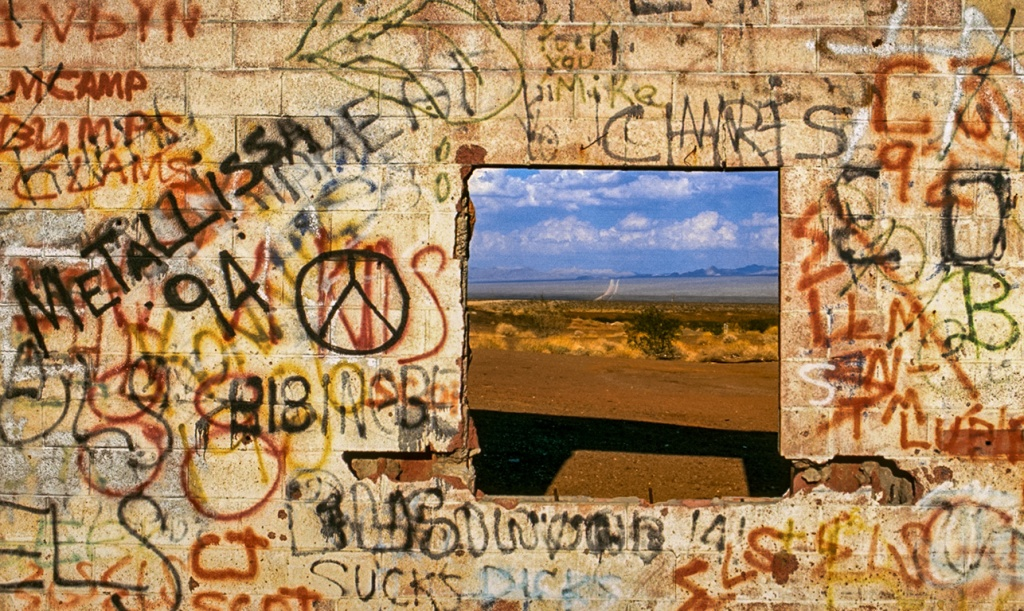 Wall of discord, Route 66, Mojave Desert, California, United States of America