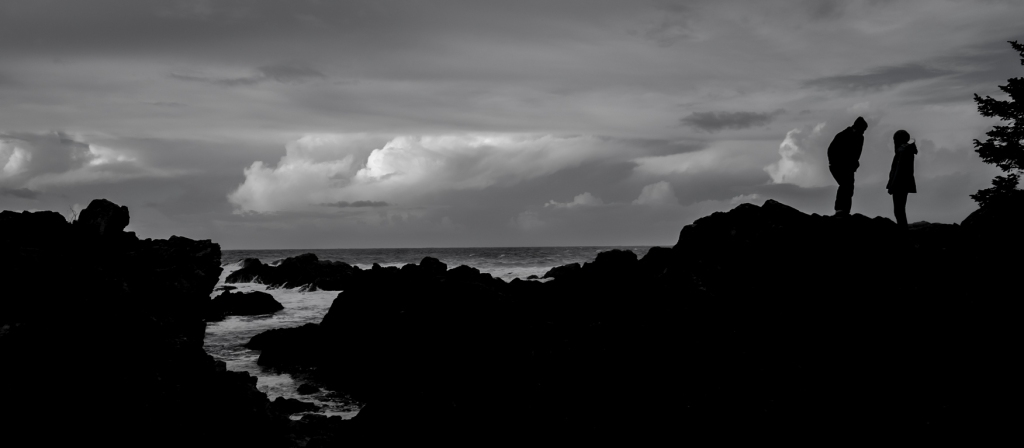 Love in Silhouette, Amphitrite Point, Wild Pacific Trail, Ucluelet, Vancouver Island, British Columbia, Canada