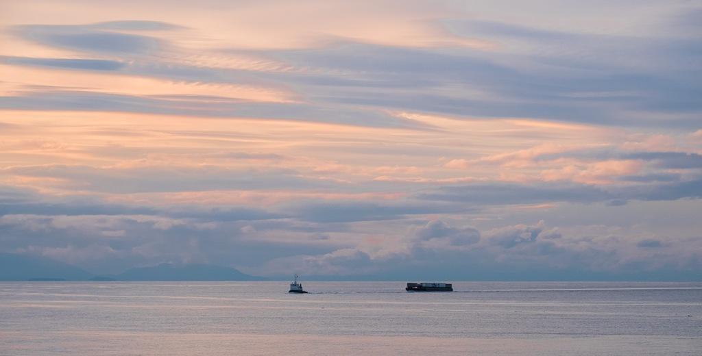 Sunset, The Strait of Georgia, BC Ferries, Nanaimo to Horseshoe Bay, British Columbia, Canada