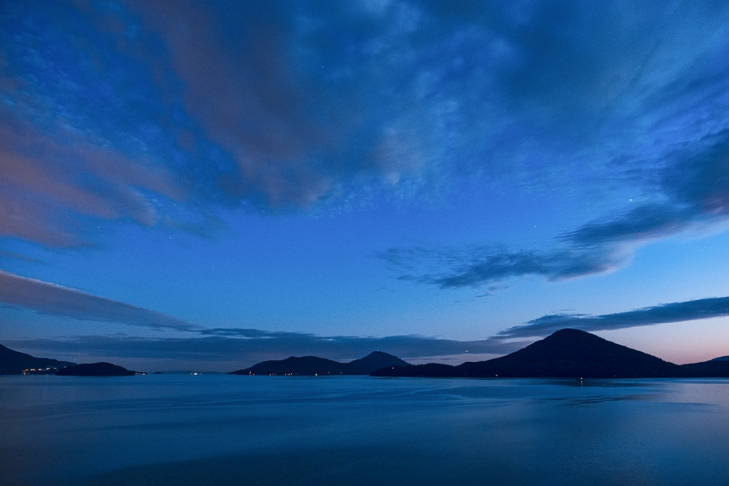 blue hour, howe sound, from sea to sky highway, british columbia, canada