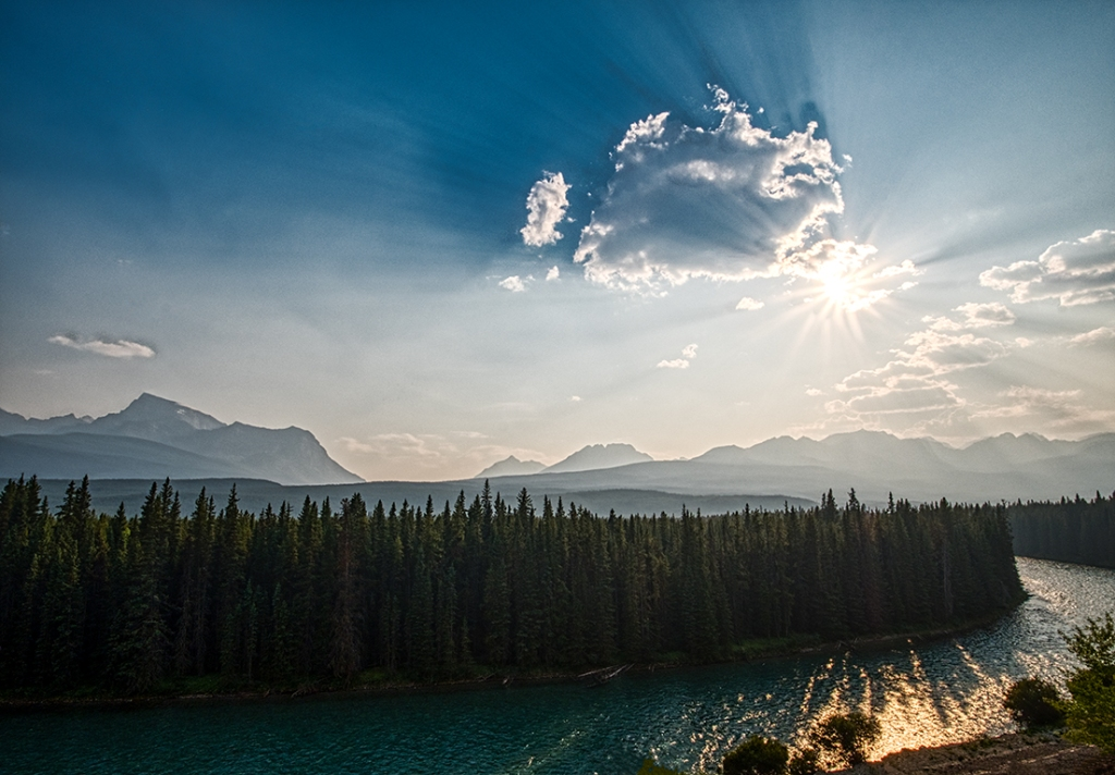 broken starburst, bow river, bow river parkway, banff national park, alberta, canada