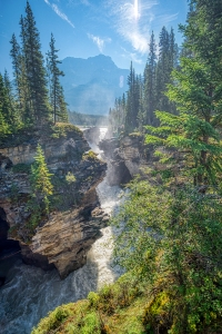 narrow channel, athabasca falls, athabasca river, jasper national park, alberta, canada