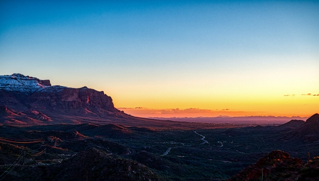 valley floor sunset, tonto national forest, looking toward mesa, arizona, united states of america