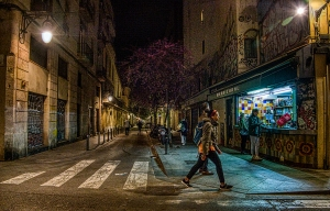 Night Spot, Carrer de L'Hospital, Gothic Quarter, Barcelona, Catelonia, Spain
