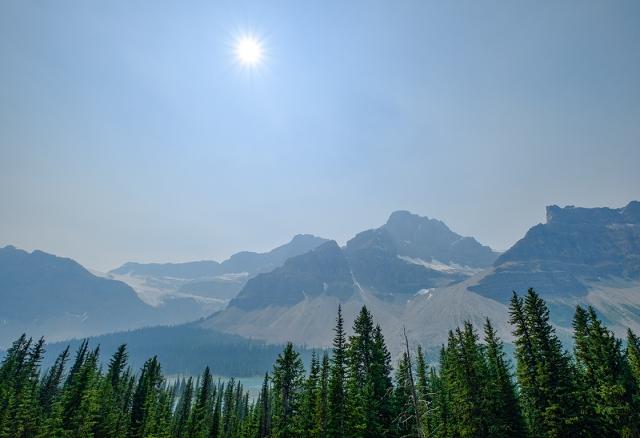 Wildfire Haze, Icefields Parkway, Banff National Park, Alberta, Canada