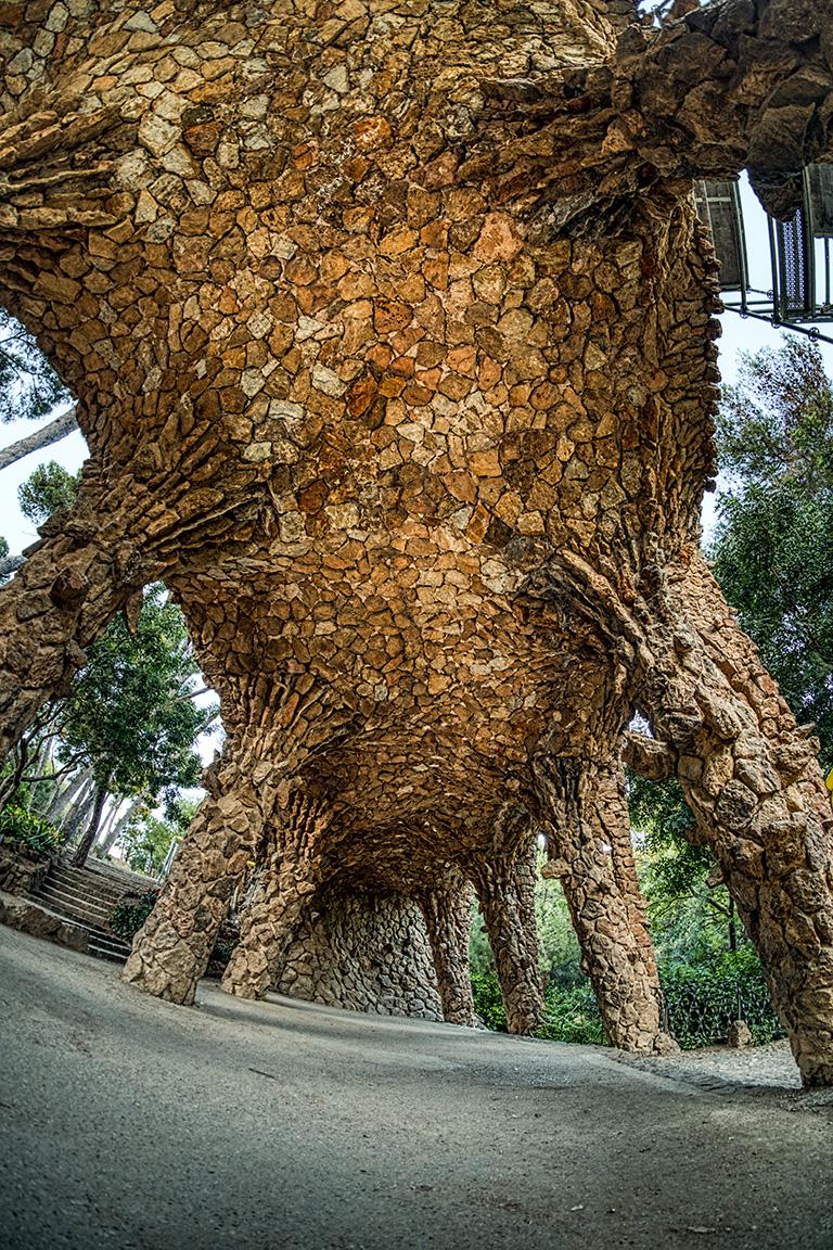 Caterpillar, Aqueduct, Park Guell, Antonio Gaudi, Barcelona, Catalonia, Spain
