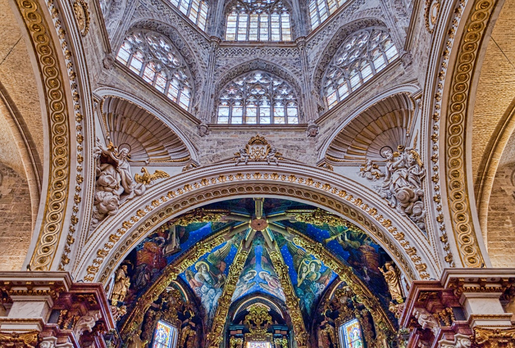 Saints and Angels, The Chancery and domes, Valencia Cathedral, Spain