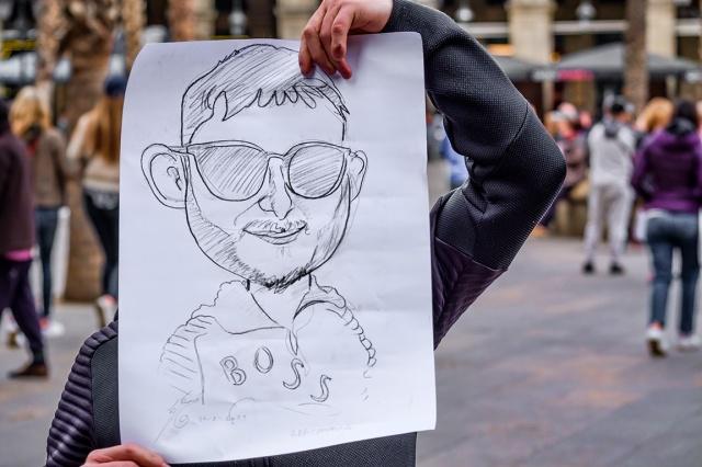 Face, Placa Reial, Barcelona, Catalonia, Spain