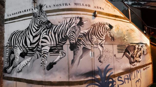 La Solidaritat La Nostra Millor Arma, Escalator to Park Guell, Barcelona, Catalonia, Spain