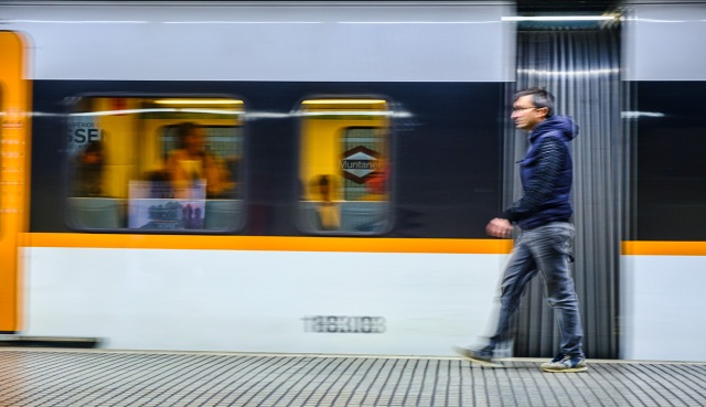 Motion Blur, Muntaner Station, Barcelona, Catalonia, Spain