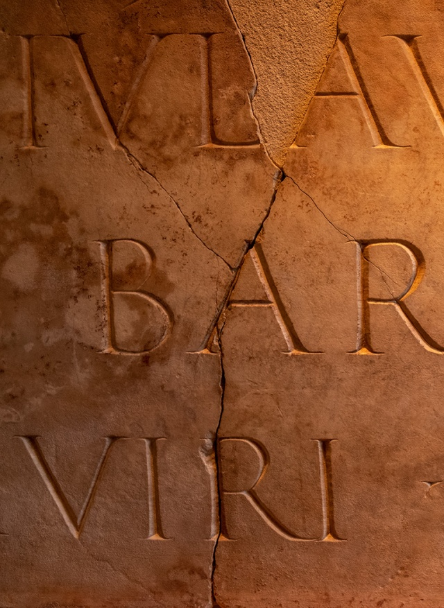 Roman Stone Writing, Museum of the History of Barcelona, Barcelona, Catalonia, Spain