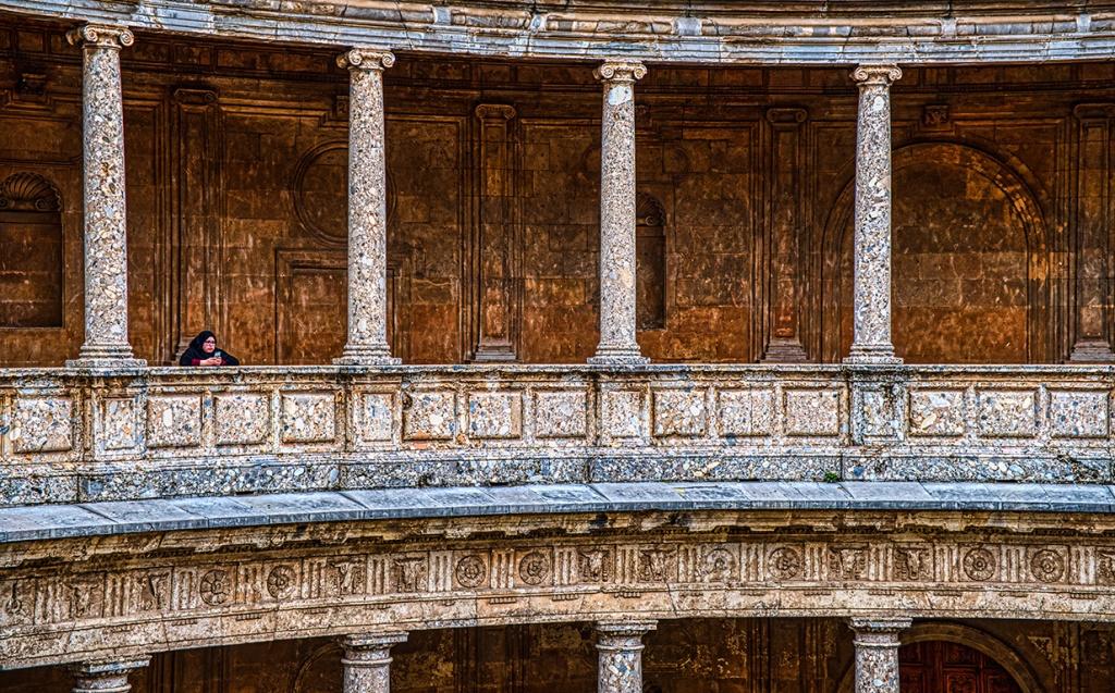 Tourist, Palace of Carlos V, Alhambra, Granada, Spain