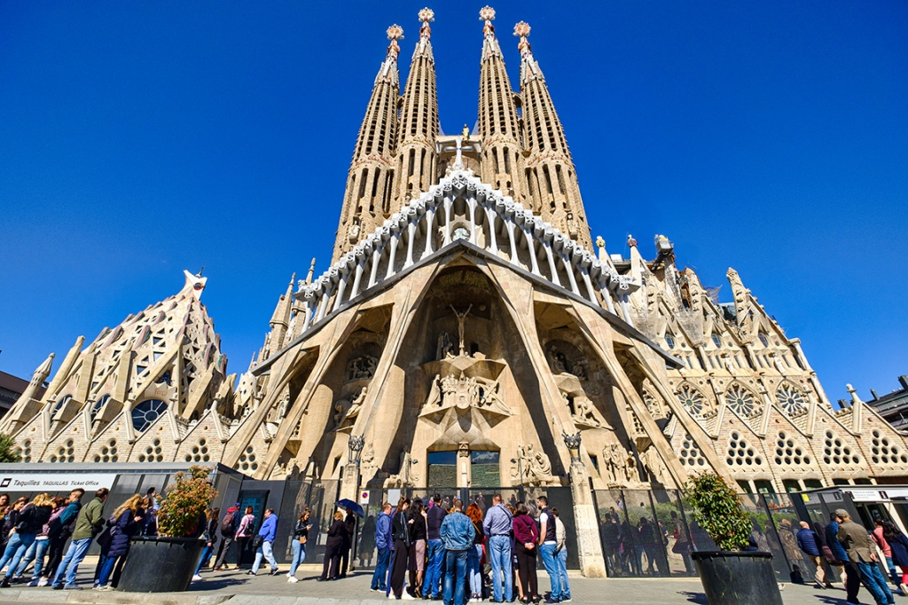 Passion Facade, La Sagrada Familia, Barcelona, Catalonia, Spain