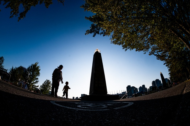 Mother and Child, Bicycle Path, Creekside Park, Vancouver, British Columbia, Canada