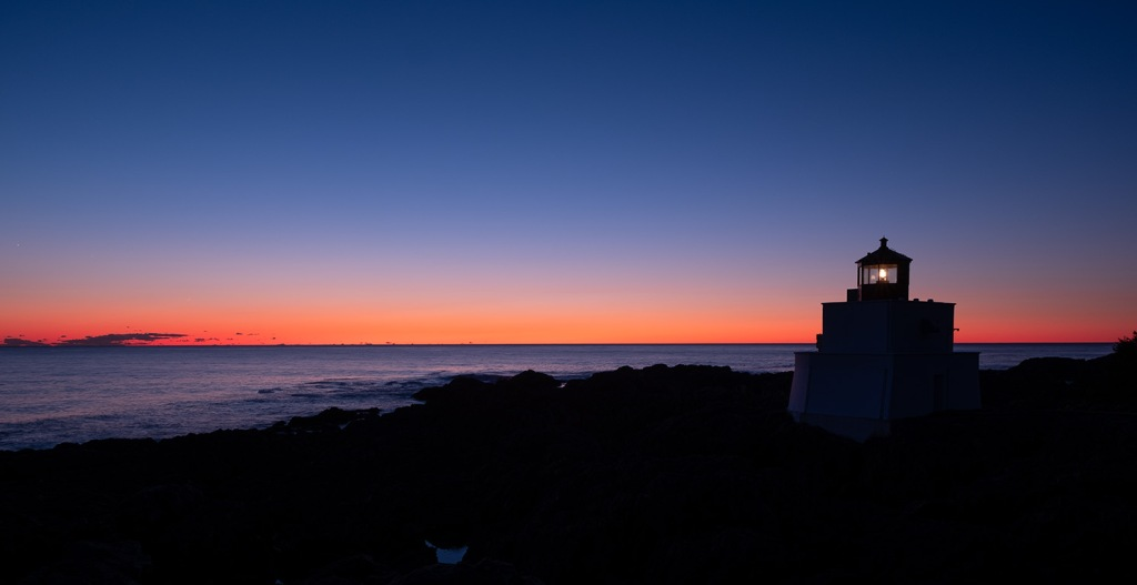 Hour of Cobalt, Amphitrite Point Lighthouse, Ucluelet, Vancouver Island, British Columbia, Canada