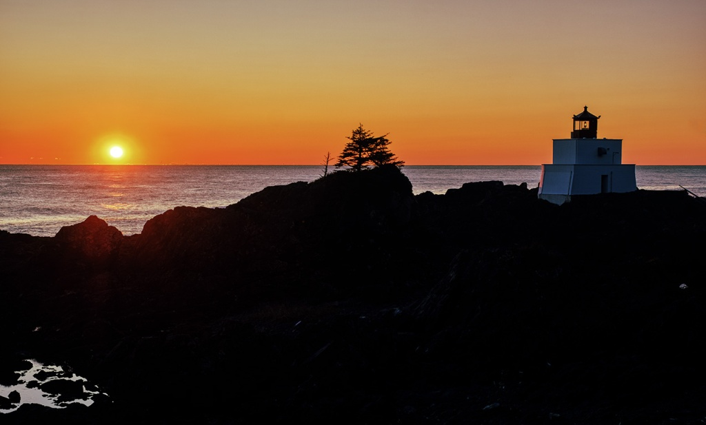 Amphitrite Point Lighthouse Sunset, Wild Pacific Trail, Ucluelet, Vancouver Island, British Columbia, Canada
