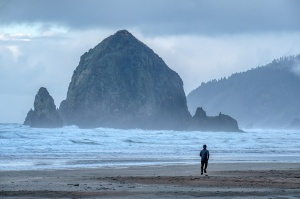 Running, Haystack Rock, Cannon Beach, Oregon, United States of America