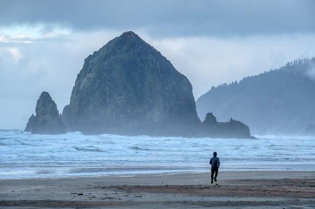 Running, Haystack Rock, Cannon Beach, Oregon, United States of America