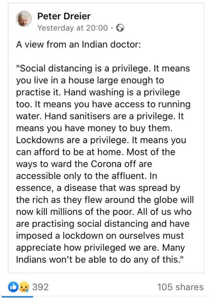 Social Distancing is a Privilege