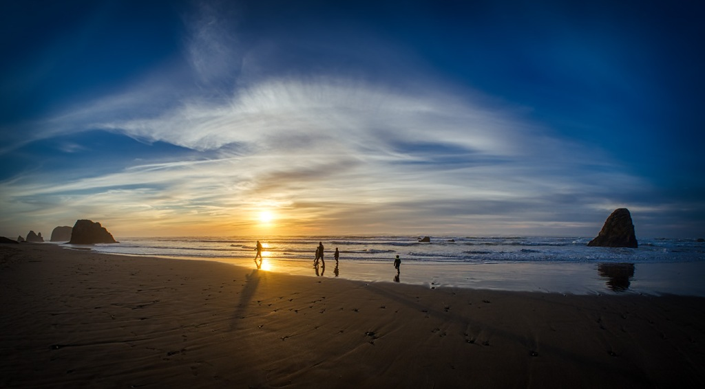 Family and Friends, Seaside Creek Beach Sunset, Pacific Coast Highway, Mendocino County, California, United States of America