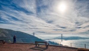 Kelly & Fiance, Marin Headlands over San Francisco Golden Gate Bridge, California, USA, January 3, 2020