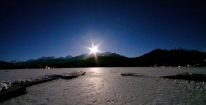 Moonset Over Blackcomb, Whistler, British Columbia, Canada