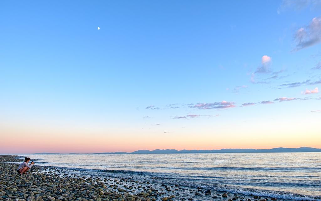 One Stone on a Beach, Gibsons, Sunshine Coast, British Columbia, Canada