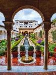 Raindrops on Fountains, Garden in the Palacios Generalife, Alhambra, Granada, Spain