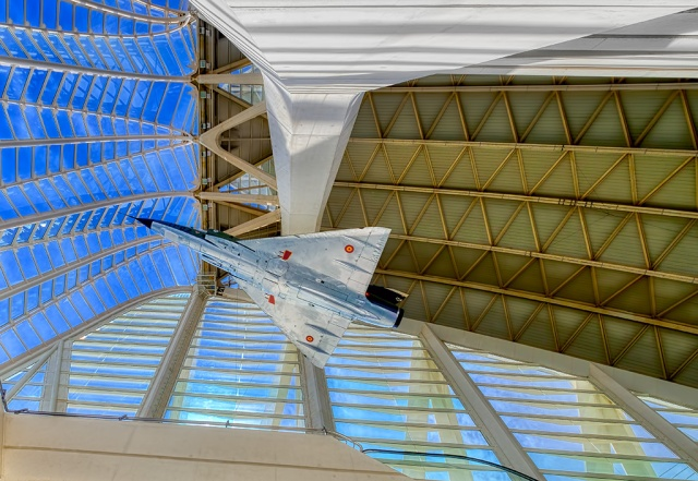 Caged Bird, Spanish Air Force Dassault Mirage III EE, Museu de les Ciències, Ciutat de les Arts i les Ciències, Valencia, Spain