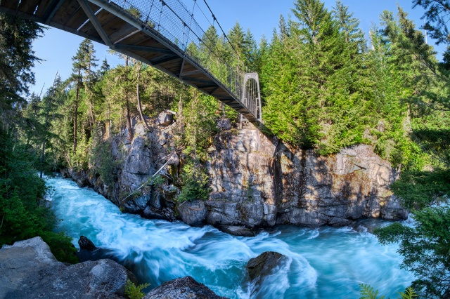 A River Runs Through It, MacLaurin's Crossing Suspension Bridge, Cheakamus River, Whistler, British Columbia, Canada