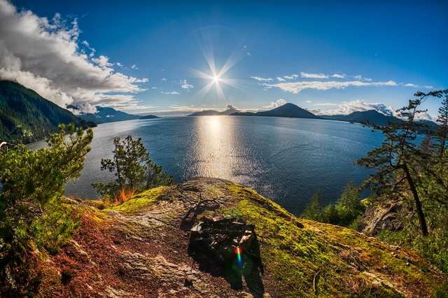 Sun Shine, Sea to Sky Highway, Near Lion's Bay, British Columbia, Canada