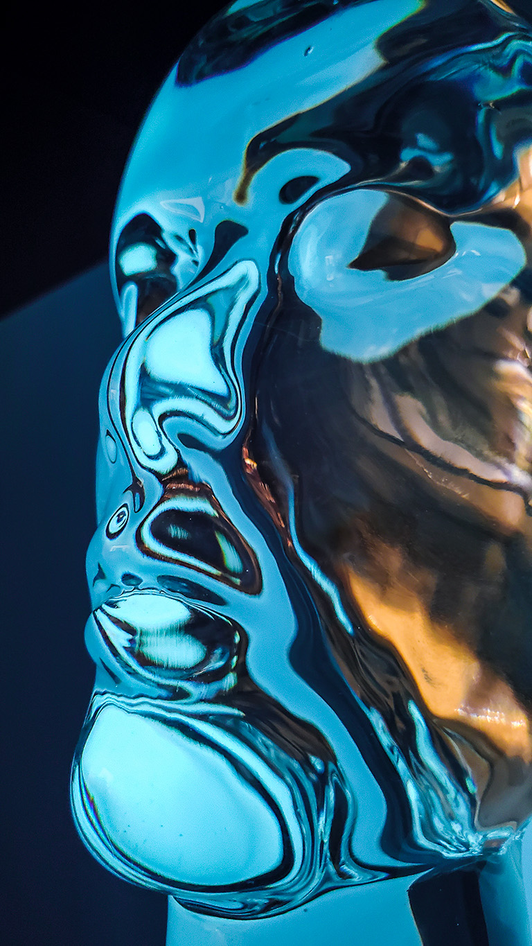 Glass Bust, an icy face