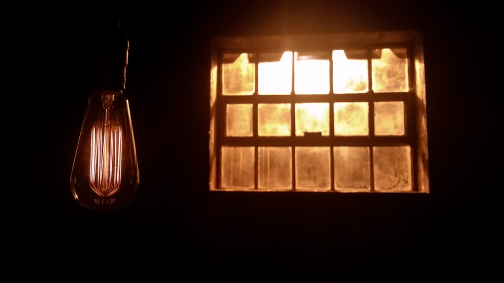 Edison Bulb in the Darkness, Crease Building, Riverview Hospital, Coquitlam, British Columbia, Canada