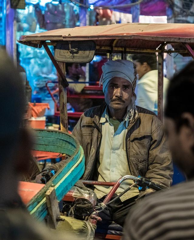 ad Eyes, Motorcycle Rickshaw Driver, Chandni Chowk, New Delhi, India
