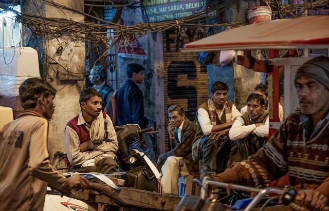 The Extraordinary Mundane, Men Loitering in Chandni Chowk Markets, New Delhi, India