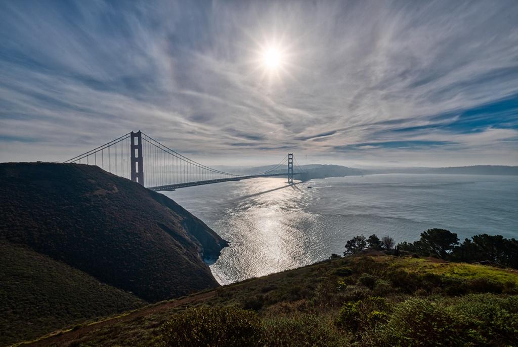 Under a Pale Sky and a Hot Sun, Golden Gate Bridge, San Francisco, California, USA